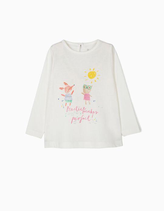 Camiseta de Manga Larga para Bebé Niña 'Practice', Blanca