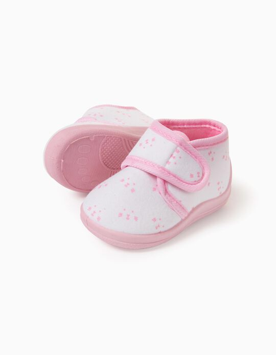 Slipper Boots for Baby Girls 'Animals', White/Pink