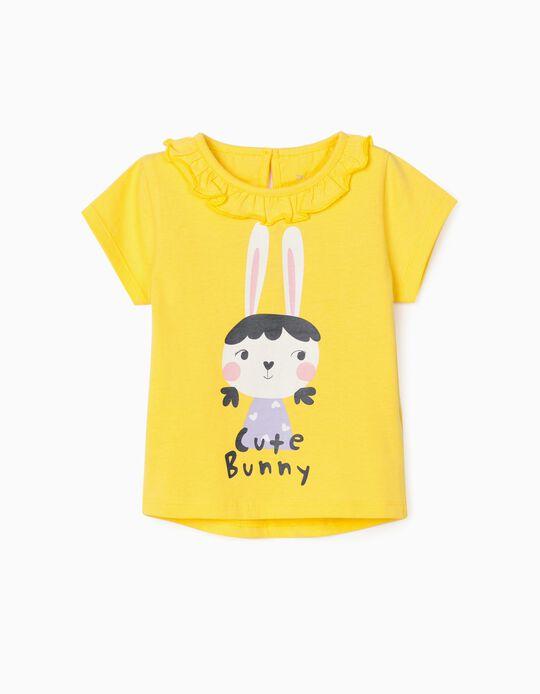 Camiseta para Bebé Niña 'Cute Bunny', Amarillo