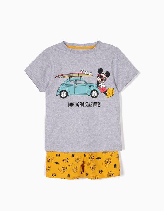 Pijama para Menino 'Mickey Waves', Cinza e Amarelo