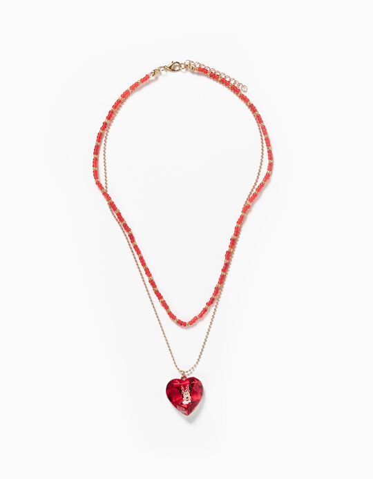 Bead Necklace for Girls 'Minnie, Red