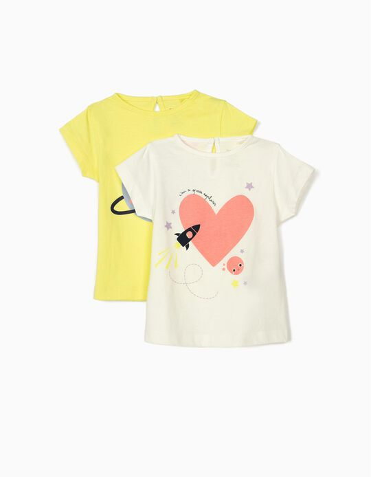 2 T-shirts for Baby Girls, 'Space Explorer', White/Lime Yellow