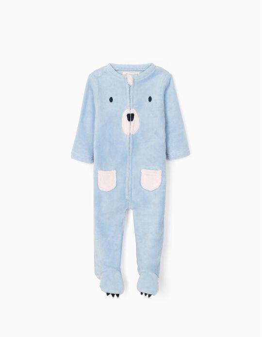 Pijama-Macacão para Bebé Menina 'Bear', Azul/Rosa