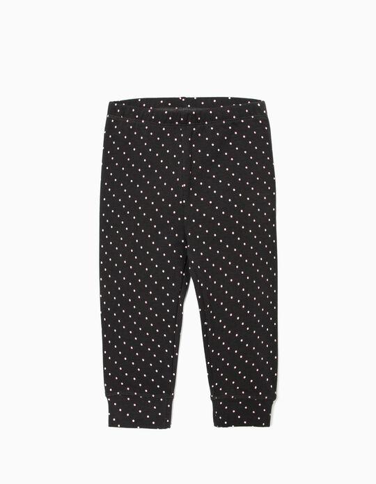 Pantalon de sport pour bébé fille 'Dots', gris foncé