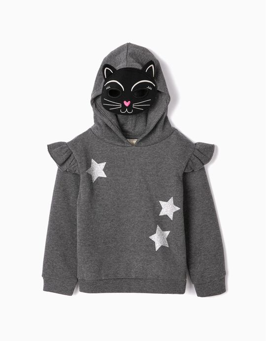 Sweatshirt com Capuz-Máscara para Menina 'Cat', Cinza