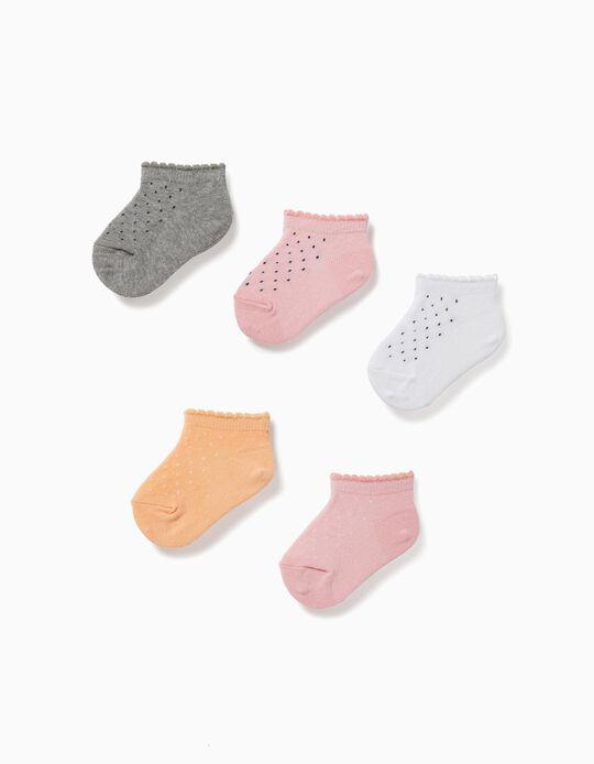 5 Pares Calcetines Cortos para Bebé Niña 'Lunares', Multicolor