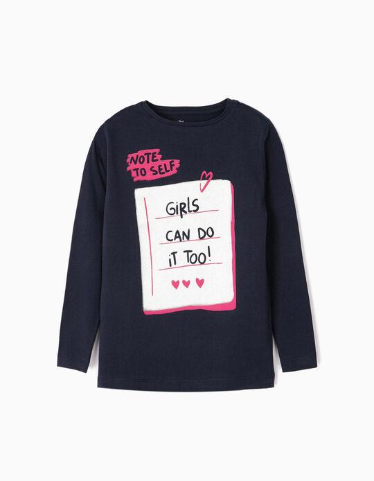 T-shirt Manga Comprida para Menina 'Note to Self', Azul Escuro