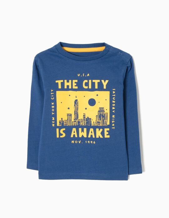 Camiseta de Manga Larga New York Azul