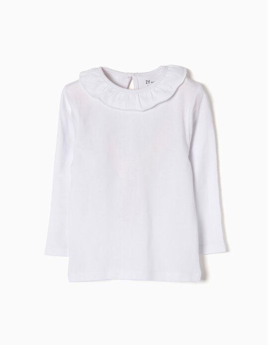 Camiseta de Manga Larga para Bebé Niña con Volantes, Blanca