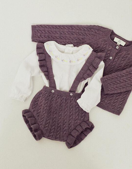 Knitted Shorts & Jacket for Newborn Baby Girls, Purple