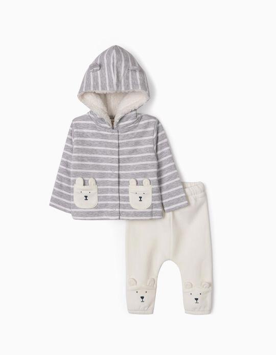 Fato de Treino para Recém-Nascido 'Cute Bear', Cinza/Branco