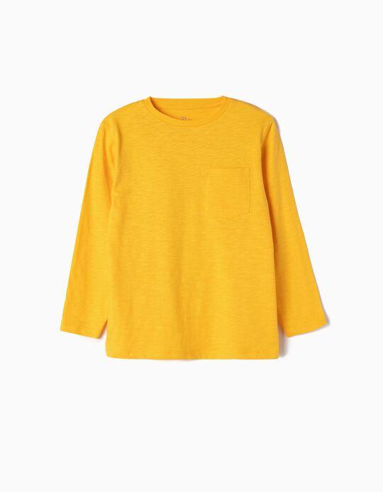 Camiseta de Manga Larga para Niño, Amarilla