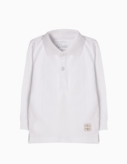 Long-Sleeved Polo Shirt for Baby Boys, White