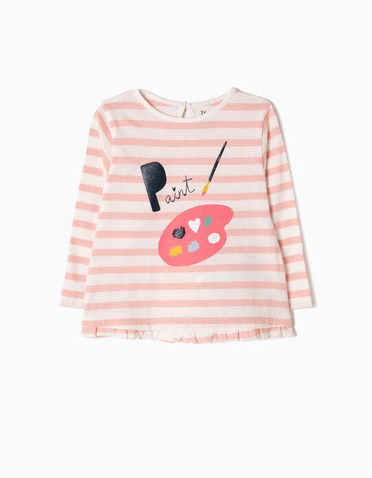T-shirt Manga Comprida Riscas Paint