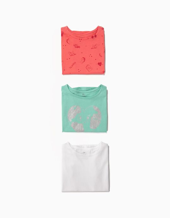 3 Camisetas para Niña con Volantes, Multicolores