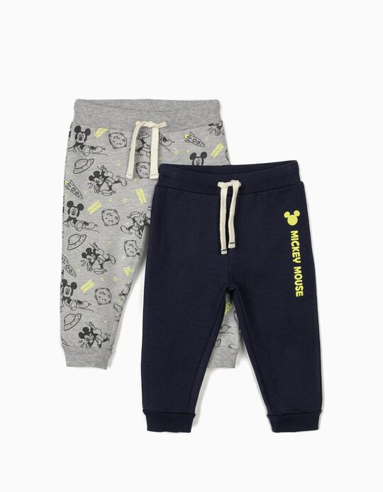 2 Pairs of Joggers for Baby Boys, 'Mickey Mouse', Grey/Dark Blue