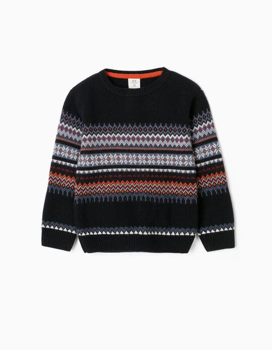 Knit Jumper with Jacquard for Boys, Multicoloured