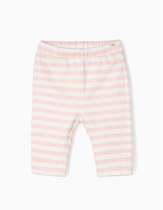 Pantalón de Punto para Recién Nacida a 'Rayas', Blanco y Rosa