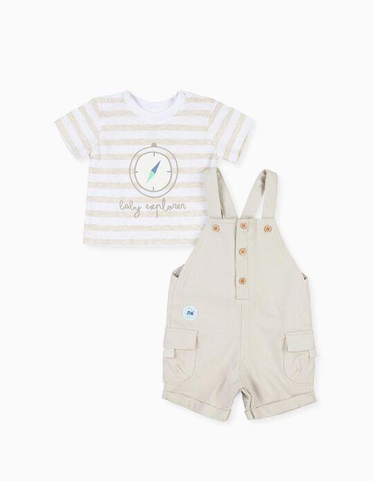 T-shirt e Macacão para Recém-Nascido LOSAN, Branco/Bege