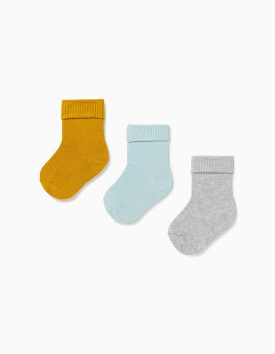 3 paires de chaussettes à revers bébé garçon, jaune/bleu/gris