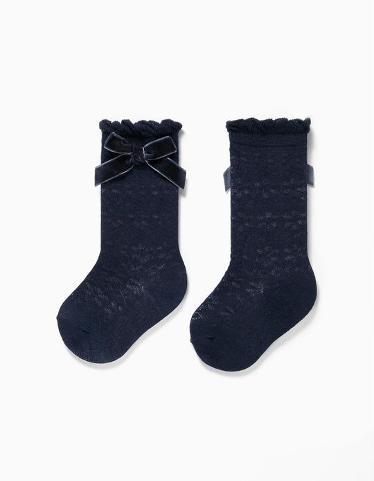 Knee High Socks with Bows for Baby Girls, Dark Blue