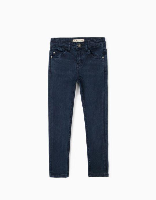 Pantalón de Sarga para Niño 'Slim Fit', Azul Oscuro