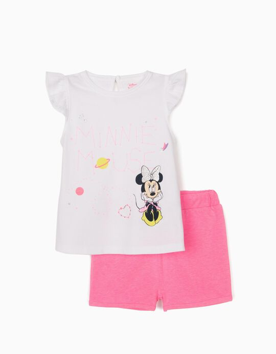 T-shirt and Shorts for Baby Girls, 'Minnie Mouse', White/Pink