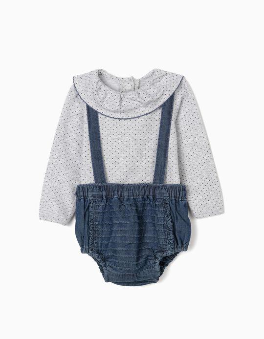 Bodysuit + Shorts with Straps for Newborn Baby Girls, Grey/Blue