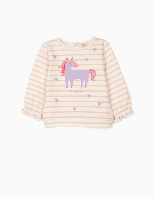 Sweatshirt for Baby Girls 'Unicorn', White/Pink