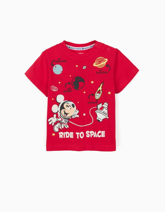 T-shirt for Baby Boys, 'Mickey in Space', Red