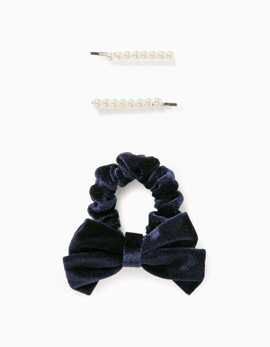 2 Ganchos + Elástico Scrunchie Veludo e Pérolas para Menina 'B&S', Azul Escuro