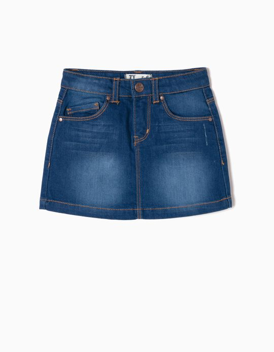 Denim Skirt for Girls, Dark Blue