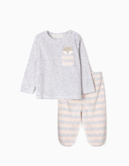 Pijama de Terciopelo para Bebé Niña 'Cute Fox', Gris/Rosa Claro