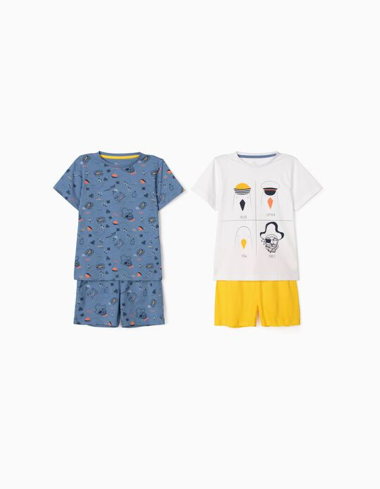 2 Sets of Pyjamas for Boys, 'Seagulls', White/Blue/Yellow