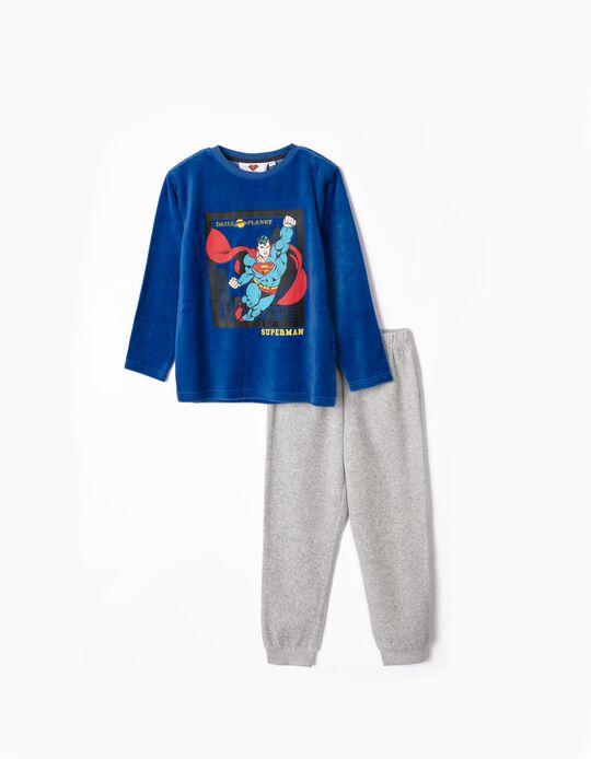 Pijama con Capa para Niño 'Superman', Azul/Rojo/Gris