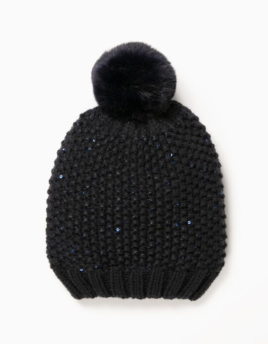 Blue Knitted Beanie with Sequins