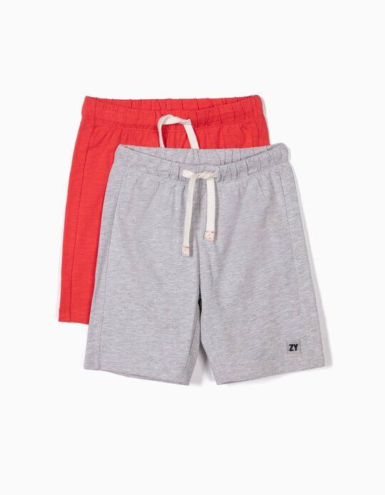 2 Shorts de Deporte para Niño, Rojo y Gris