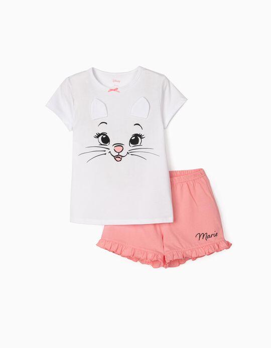 Pyjama fille 'Marie', blanc/rose