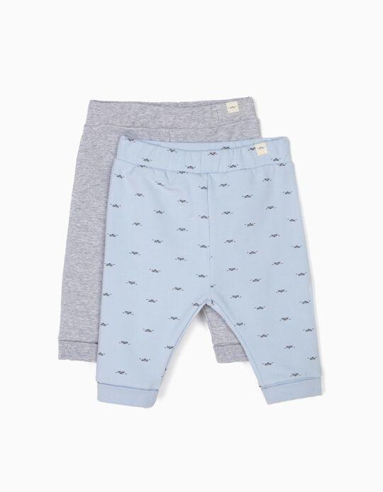 2 Pantalones para Recién Nacido 'Lion', Azul y Gris