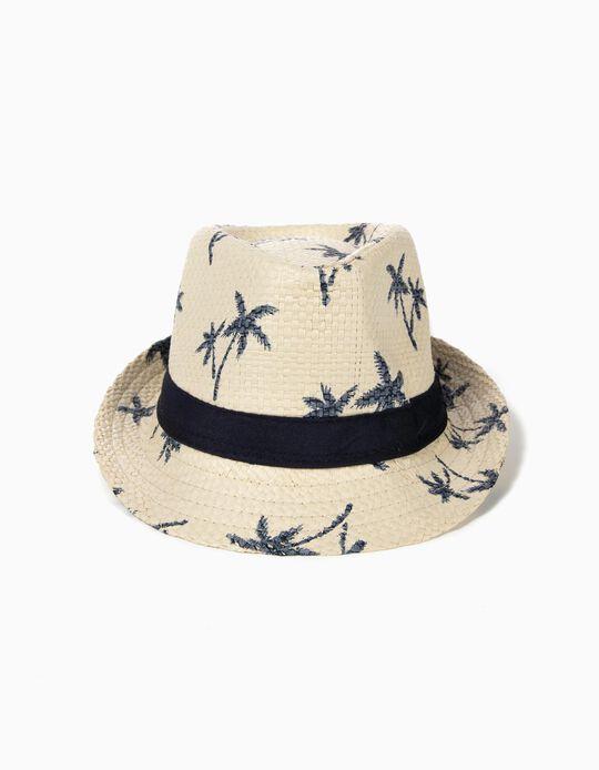 Chapéu de Palha para Menino 'Palms', Bege