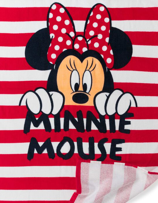 Beach Towel for Girls, 'Minnie Mouse', White/Red