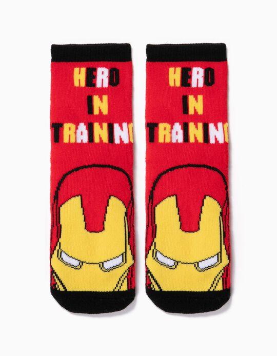 Calcetines Antideslizantes para Niño 'Iron Man', Rojos
