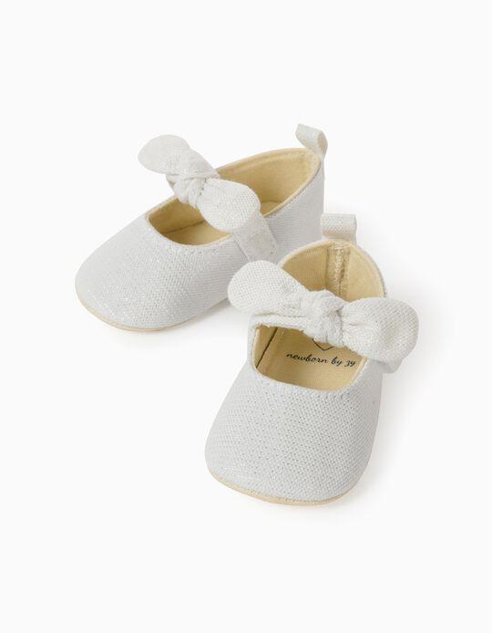 Shiny Ballet Pumps for Newborn Baby Girls, White