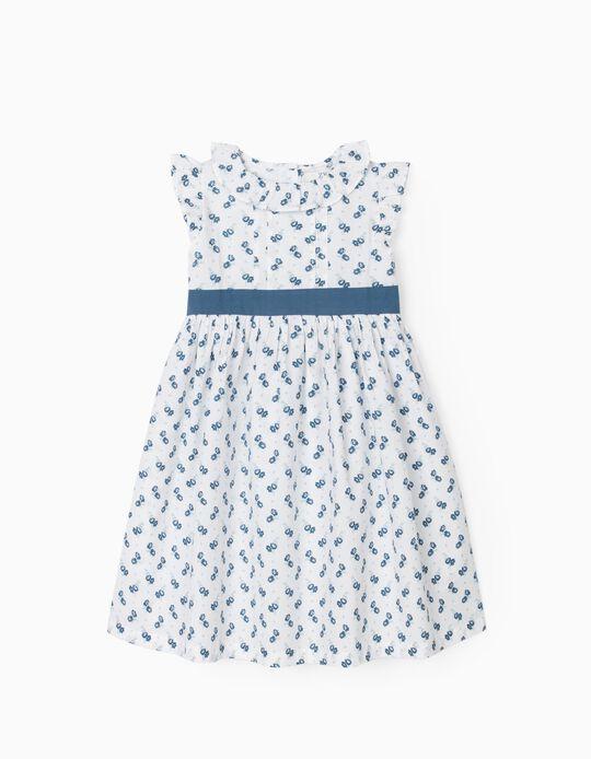 Robe fleurie fille, blanc/bleu