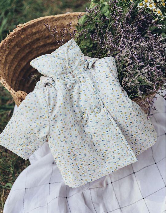 Blusão Acolchoado para Recém-Nascida 'Flores', Branco