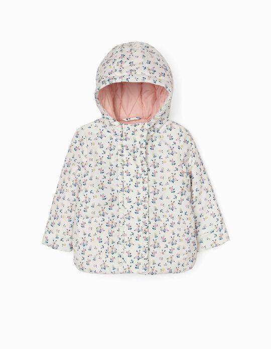 Cazadora con Relleno para Bebé Niña 'Flowers', Blanca
