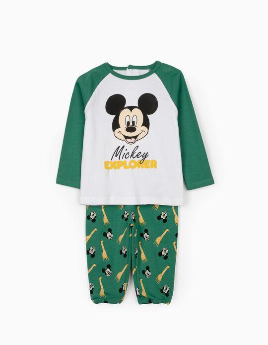 Pijama de Manga Larga para Bebé Niño 'Mickey Explorer', Blanco/Verde
