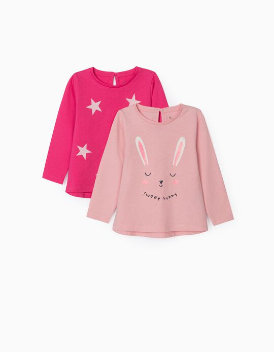 2 Long Sleeve Tops for Baby Girls, 'Sweet Bunny', Pink