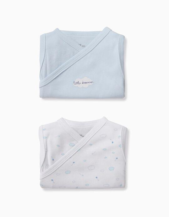 2 Bodies para Recién Nacido 'Little Dreamer', Azul y Blanco