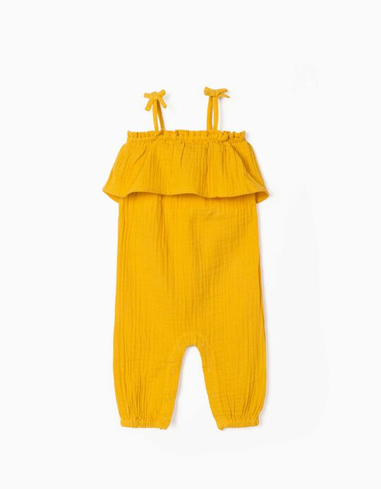 Textured Jumpsuit for Newborn Baby Girls, Yellow